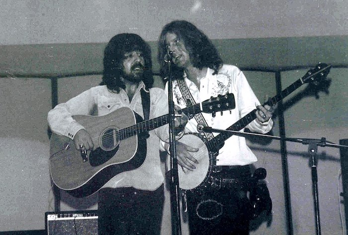 Clarence White and Roger McGuinn perform as The Byrds in 19972